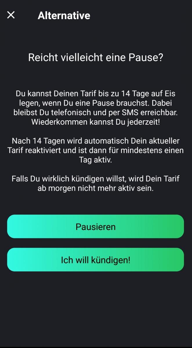 Freenet-Funk-App-Kündigungsmenü