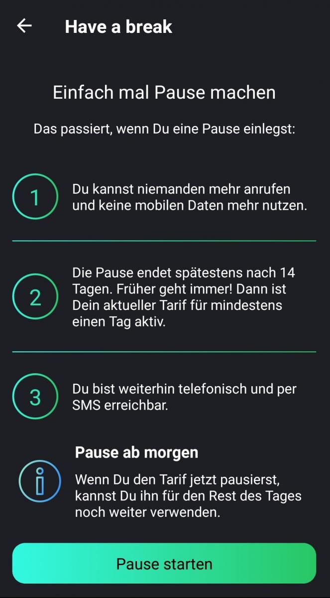 Freenet-Funk-App-Pausierenuntermenü