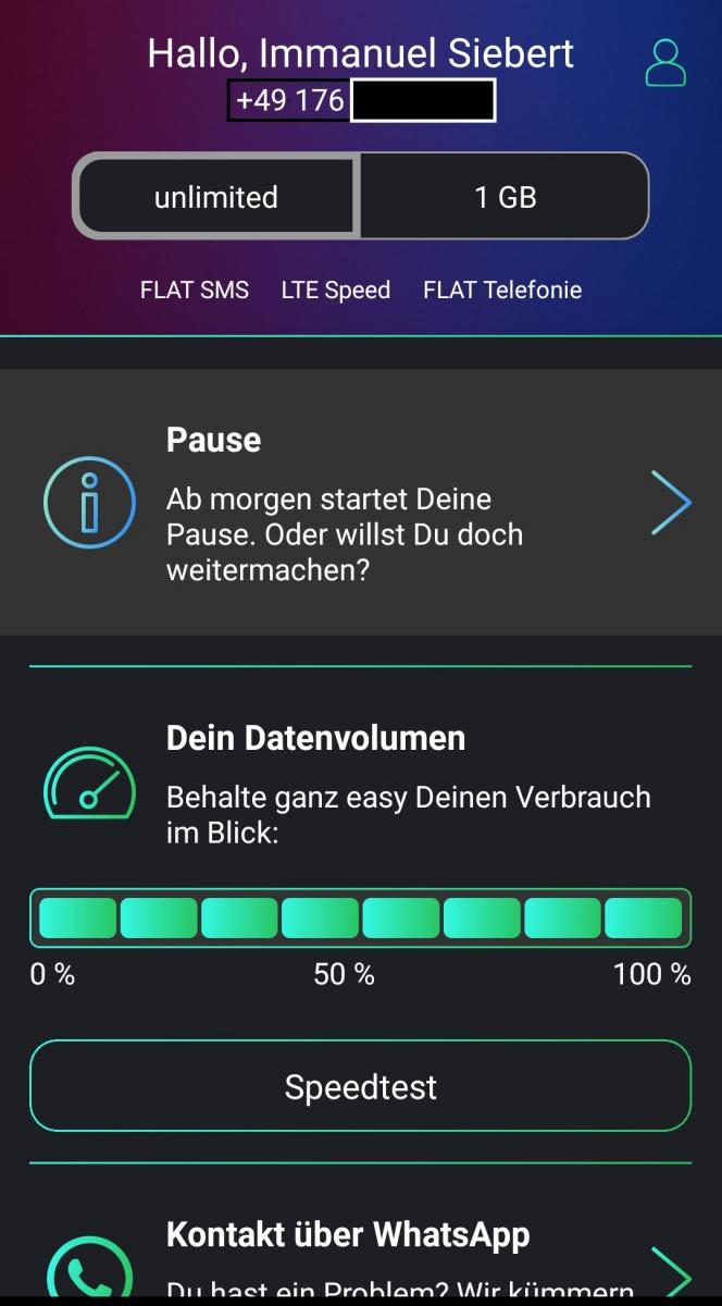 Freenet Funk App Sartbildschirm Tarif pausiert