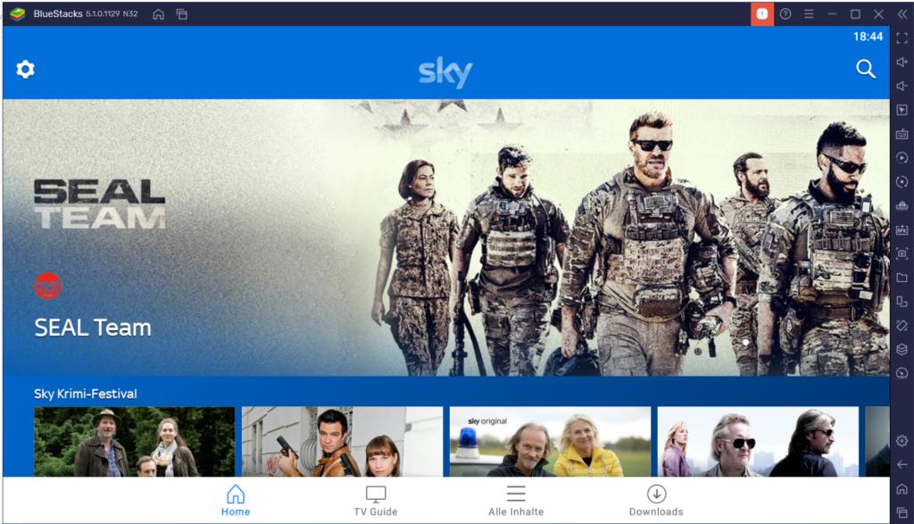 Sky Go App in Bluestacks Android Emulator