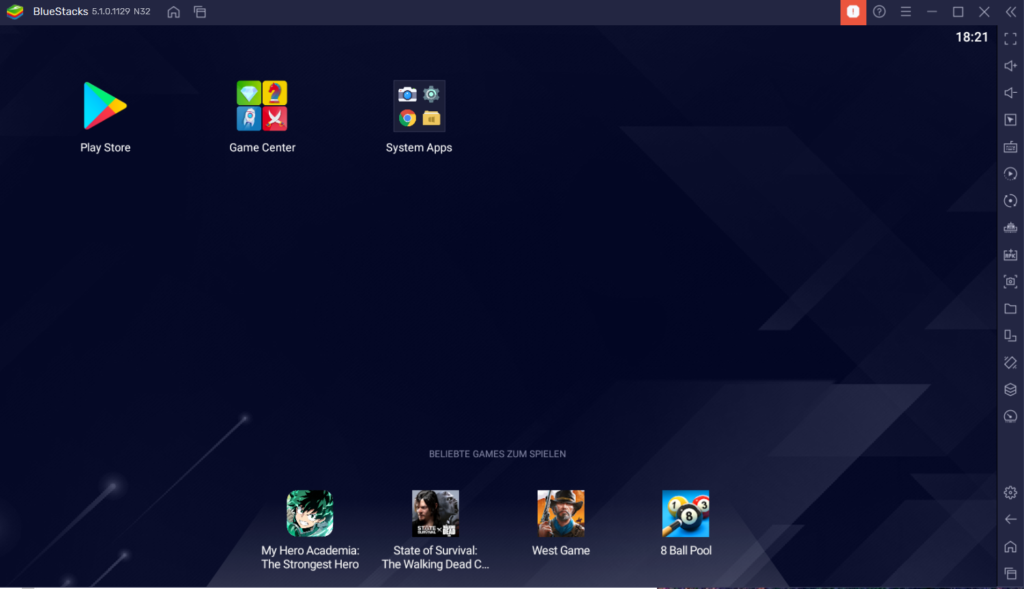 Bluestacks Android Emulator Startbildschirm