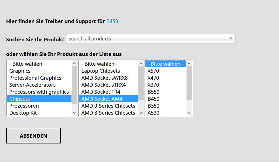 AMD Chipsatz Treiberauswahl
