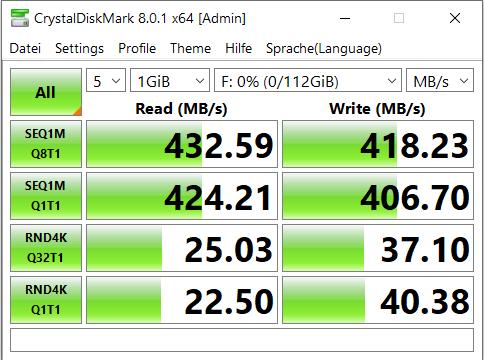 """Lese- und Schreibgeschwindigkeit der 2,5"""" SSD von Maikou im externen USB 3.0 Festplattengehäuse"""